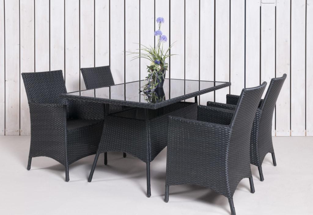 Rattan Gartenmöbel - Gartentisch mit 4 Stühlen